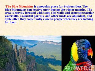 The Blue Mountains is a popular place for Sydneysiders.The Blue Mountains can re