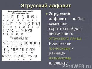 Этрусский алфавит Этрусский алфавит — набор символов, характерный для письменног