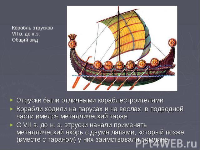 Этруски были отличными кораблестроителями Этруски были отличными кораблестроителями Корабли ходили на парусах и на веслах, в подводной части имелся металлический таран С VII в. до н. э. этруски начали применять металлический якорь с двумя лапами, ко…