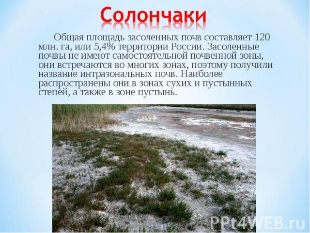 Общая площадь засоленных почв составляет 120 млн. га, или 5,4% территории России. Засоленные почвы не имеют самостоятельной почвенной зоны, они встречаются во многих зонах, поэтому получили название интразональных почв. Наиболее распространены они в…