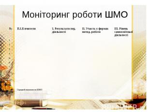 Моніторинг роботи ШМО
