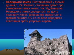 Невицький замок. Розташований у вузькій долині р. Уж. Певних історичних даних пр