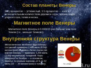 Состав планеты Венеры 96.5 процентов — углекислый, 3.5 процентов — азот, с незна
