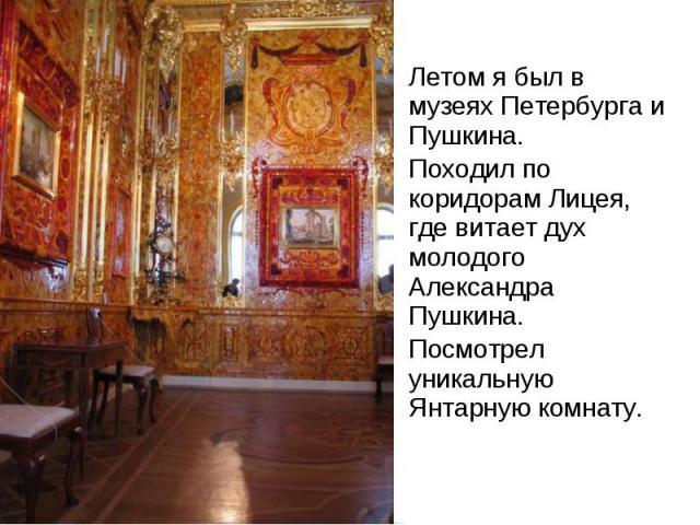 Летом я был в музеях Петербурга и Пушкина. Летом я был в музеях Петербурга и Пушкина. Походил по коридорам Лицея, где витает дух молодого Александра Пушкина. Посмотрел уникальную Янтарную комнату.