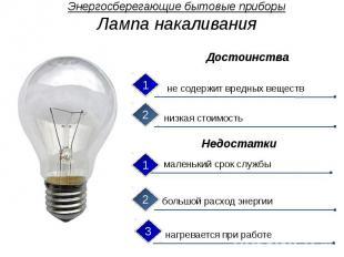 Энергосберегающие бытовые приборы Лампа накаливания