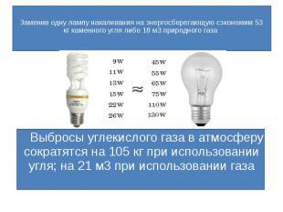 Заменив одну лампу накаливания на энергосберегающую сэкономим 53 кг каменного уг