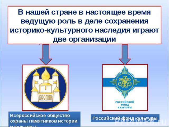 В нашей стране в настоящее время ведущую роль в деле сохранения историко-культурного наследия играют две организации Всероссийское общество охраны памятников истории и культуры Российский фонд культуры