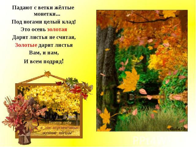 Падают с ветки жёлтые монетки... Падают с ветки жёлтые монетки... Под ногами целый клад! Это осень золотая Дарит листья не считая, Золотые дарит листья Вам, и нам, И всем подряд!