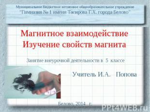 """Муниципальное бюджетное нетиповое общеобразовательное учреждение """"Гимназия № 1 и"""