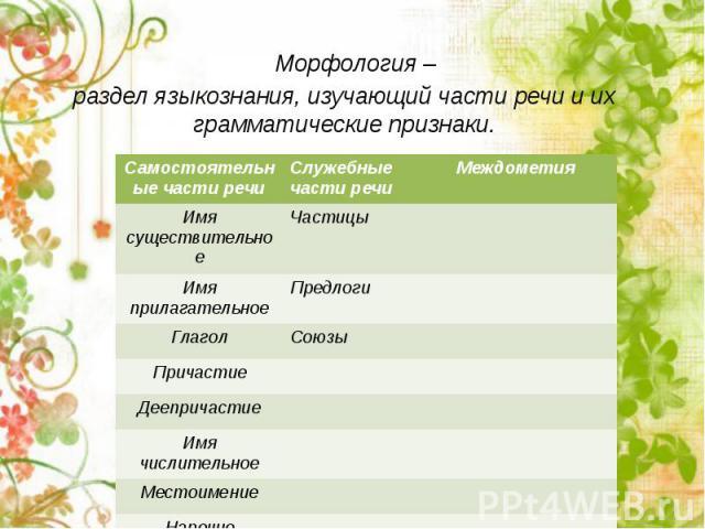 Морфология – раздел языкознания, изучающий части речи и их грамматические признаки.