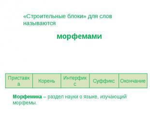 «Строительные блоки» для слов называются морфемами Морфемика – раздел науки о яз