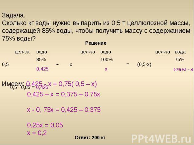 Задача. Сколько кг воды нужно выпарить из 0,5 т целлюлозной массы, содержащей 85% воды, чтобы получить массу с содержанием 75% воды?