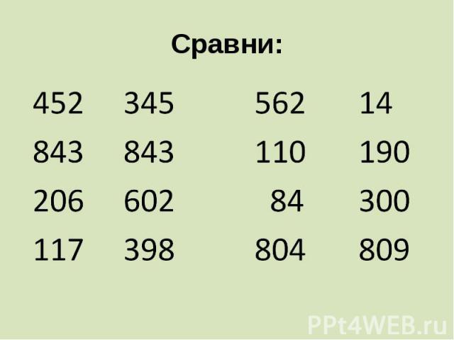 Сравни: