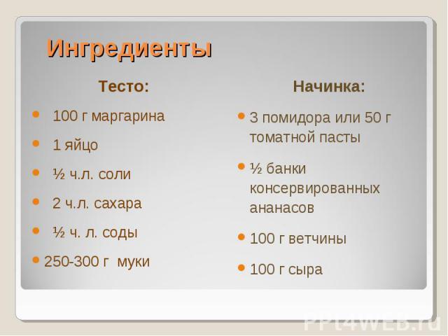 Тесто:Тесто: 100 г маргарина 1 яйцо ½ ч.л. соли 2 ч.л. сахара ½ ч. л. соды250-300 г муки