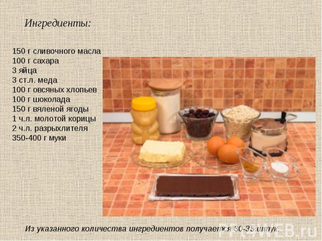 150 г сливочного масла 100 г сахара 3 яйца 3 ст.л. меда 100 г овсяных хлопьев 100 г шоколада 150 г вяленой ягоды 1 ч.л. молотой корицы 2 ч.л. разрыхлителя 350-400 г муки