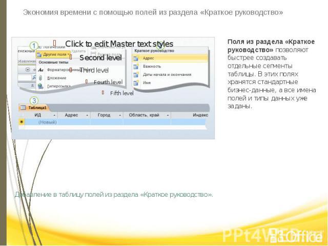 Экономия времени с помощью полей из раздела «Краткое руководство» Добавление в таблицу полей из раздела «Краткое руководство».