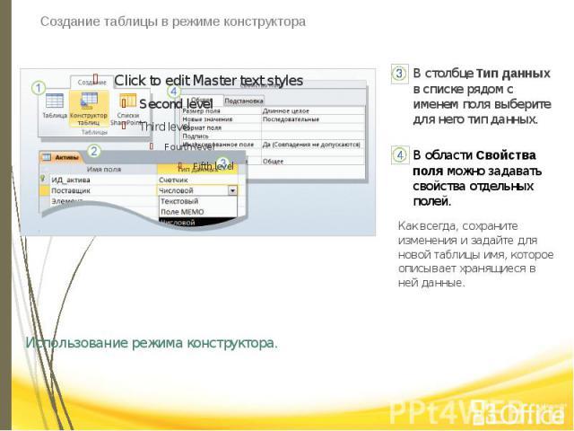 Создание таблицы в режиме конструктора Использование режима конструктора.