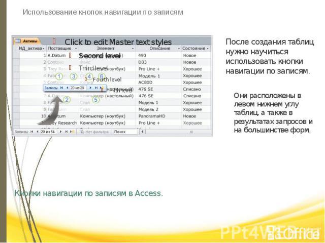Использование кнопок навигации по записям Кнопки навигации по записям в Access.