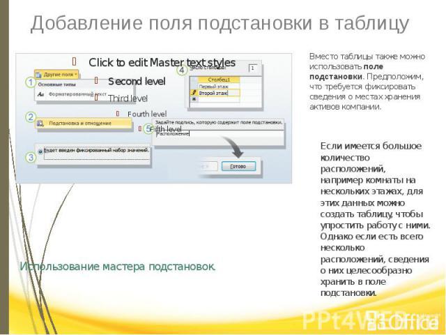 Добавление поля подстановки в таблицу Использование мастера подстановок.