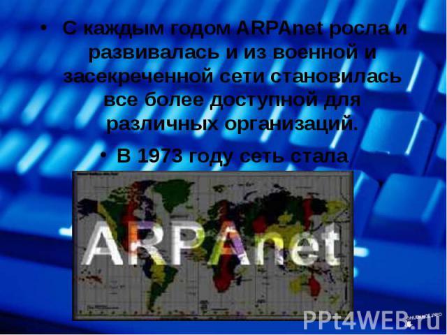 С каждым годом ARPAnet росла и развивалась и из военной и засекреченной сети становилась все более доступной для различных организаций. С каждым годом ARPAnet росла и развивалась и из военной и засекреченной сети становилась все более доступной для …