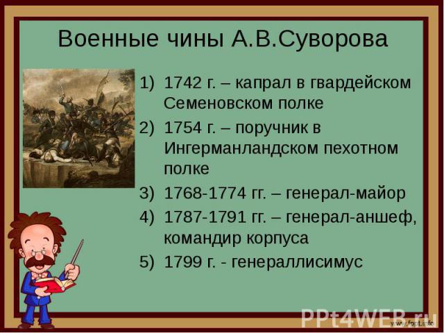 Военные чины А.В.Суворова 1742 г. – капрал в гвардейском Семеновском полке 1754 г. – поручник в Ингерманландском пехотном полке 1768-1774 гг. – генерал-майор 1787-1791 гг. – генерал-аншеф, командир корпуса 1799 г. - генераллисимус