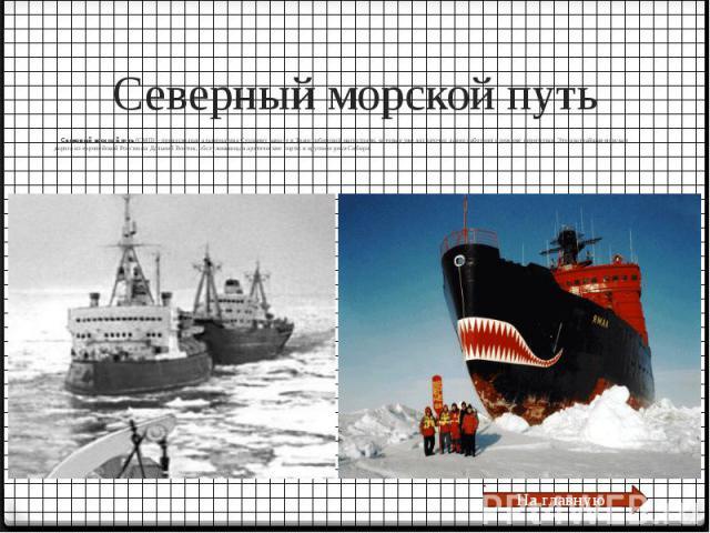 Северный морской путь Северный морской путь(СМП) – превосходная альтернатива Суэцкому каналу и Транссибирской магистрали, которые уже достаточно давно работают в режиме перегрузки. Это кратчайшая морская дорога из европейской России наДа…
