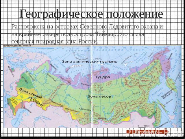 Географическое положение Расположена на островах Северного Ледовитого океана и на крайнем севере полуострова Таймыр.Это самая северная природная зона России.