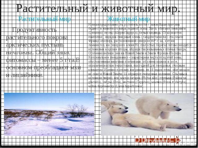 Растительный и животный мир. Продуктивность растительного покрова арктических пустынь ничтожна. Общий запас фитомассы – менее 5 т/га.В основном преобладают мхи и лишайники.