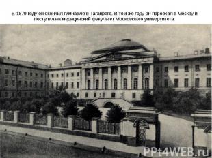 В1879 годуон окончил гимназию в Таганроге. В том же году он переехал в Москву