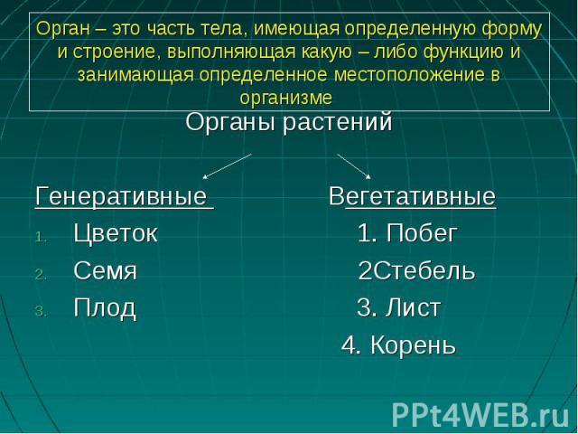 Органы растенийОрганы растенийГенеративные ВегетативныеЦветок 1. ПобегСемя 2СтебельПлод 3. Лист 4. Корень