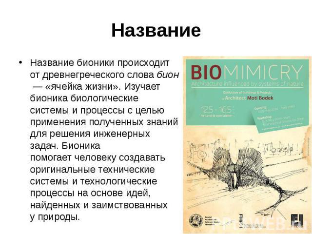 Название Название бионики происходит отдревнегреческогословабион— «ячейка жизни». Изучает бионикабиологические системыи процессы с целью применения полученных знаний для решения инженерных задач. Бионика помогает&…
