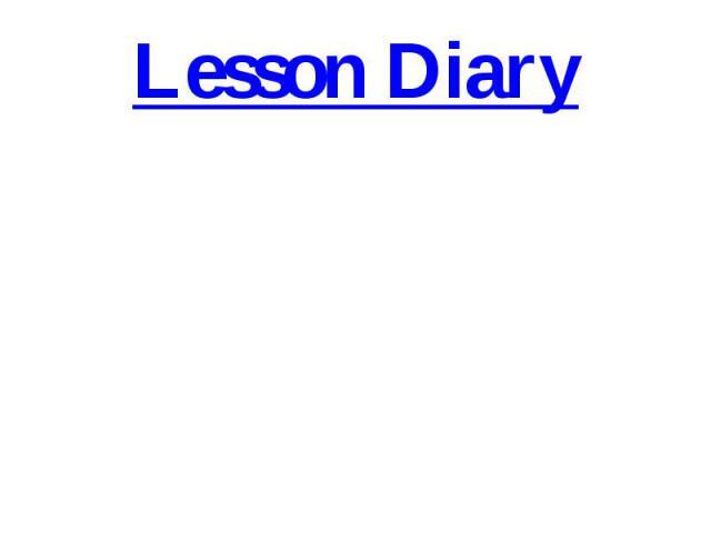 Lesson Diary