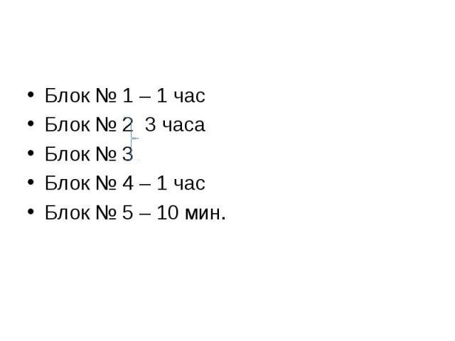 Блок № 1 – 1 час Блок № 1 – 1 час Блок № 2 3 часа Блок № 3 Блок № 4 – 1 час Блок № 5 – 10 мин.