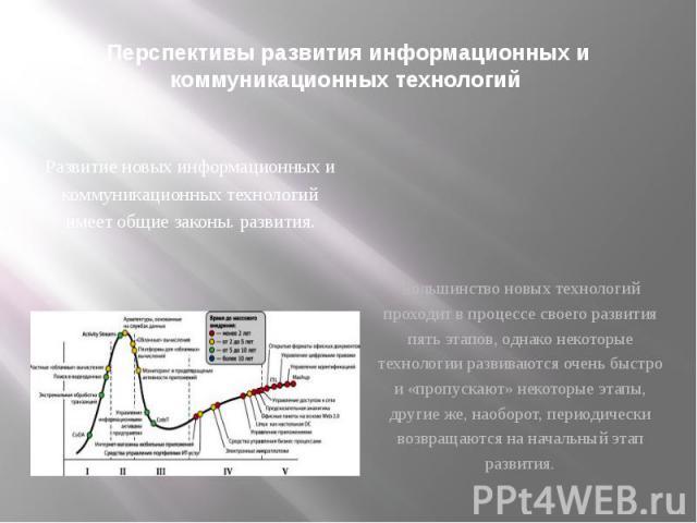 Перспективы развития информационных и коммуникационных технологий Развитие новых информационных и коммуникационных технологий имеет общие законы. развития.