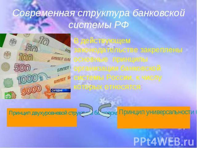 В действующем законодательстве закреплены основные принципы организации банковской системы России, к числу которых относятся: В действующем законодательстве закреплены основные принципы организации банковской системы России, к числу которых относятся:
