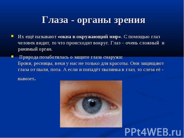 Их ещё называют «окна в окружающий мир». С помощью глаз человек видит, то что происходит вокруг. Глаз – очень сложный и ранимый орган. Их ещё называют «окна в окружающий мир». С помощью глаз человек видит, то что происходит вокруг. Глаз – очень слож…