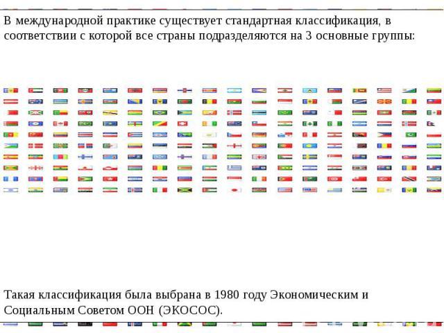 В международной практике существует стандартная классификация, в соответствии с которой все страны подразделяются на 3 основные группы:В международной практике существует стандартная классификация, в соответствии с которой все страны подразделяются …