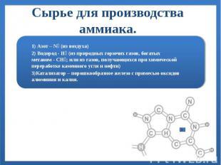 Сырье для производства аммиака. 1) Азот – N₂ (из воздуха) 2) Водород - H₂ (из пр