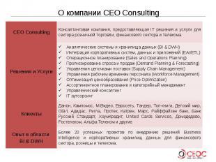 О компании CEO Consulting