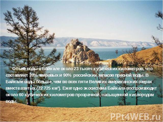 Объем воды в Байкале около 23 тысяч кубических километров, что составляет 20% мировых и 90% российских запасов пресной воды. В Байкале воды больше, чем во всех пяти Великих американских озерах вместе взятых (22 725 км³). Ежегодно экосистема Байкала …