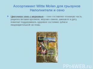 Ассортимент Witte Molen для грызунов Наполнители и сено Цветочное сено с морковь