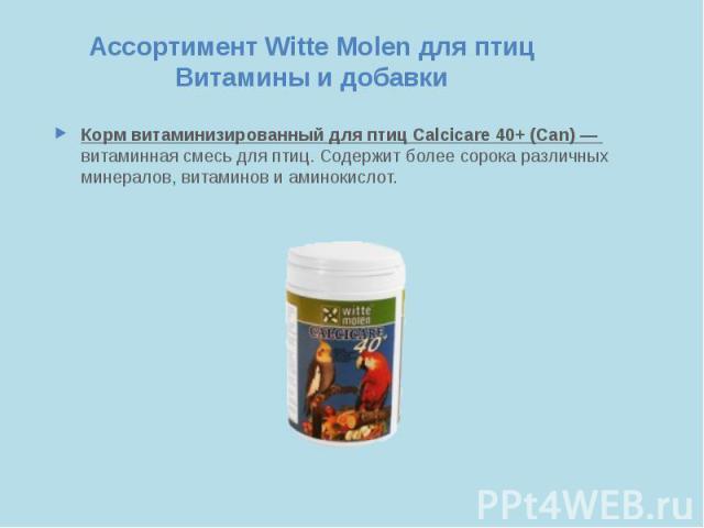 Ассортимент Witte Molen для птиц Витамины и добавки Корм витаминизированный для птиц Calcicare 40+ (Can) — витаминная смесь для птиц. Содержит более сорока различных минералов, витаминов и аминокислот.