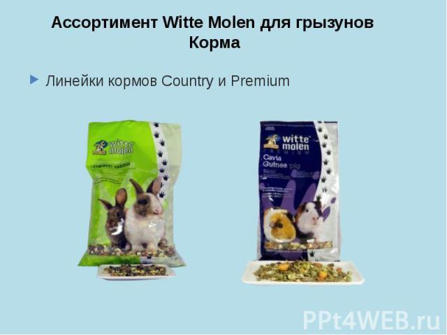 Ассортимент Witte Molen для грызунов Корма Линейки кормов Country и Premium