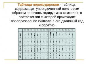 Таблица перекодировки - таблица, содержащая упорядоченный некоторым образом пере