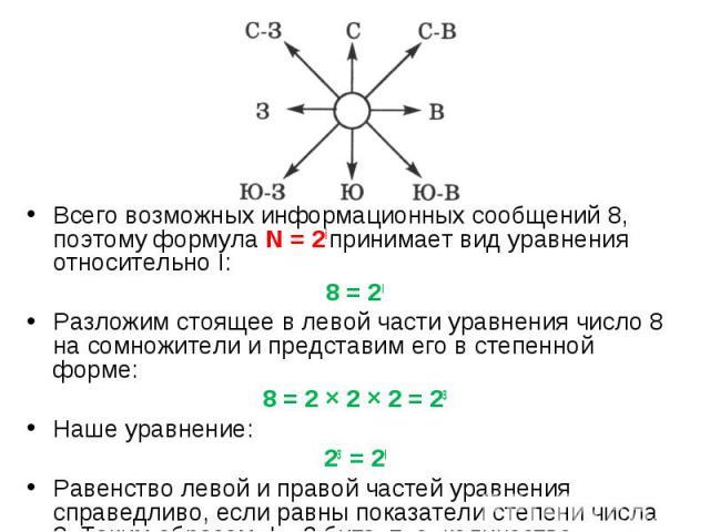 Всего возможных информационных сообщений 8, поэтому формула N = 2i принимает вид уравнения относительно I: Всего возможных информационных сообщений 8, поэтому формула N = 2i принимает вид уравнения относительно I: 8 = 2I Разложим стоящее в левой час…