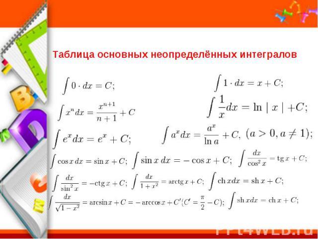 Таблица основных неопределённых интегралов
