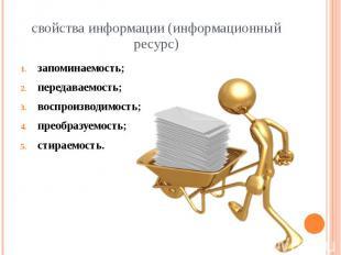 свойства информации (информационный ресурс) запоминаемость; передаваемость; восп