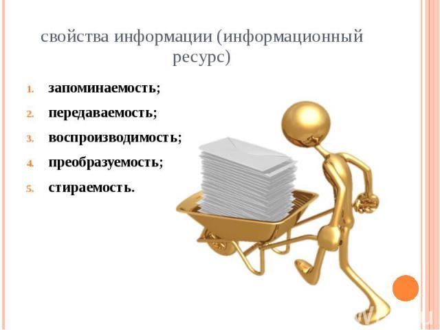 свойства информации (информационный ресурс) запоминаемость; передаваемость; воспроизводимость; преобразуемость; стираемость.
