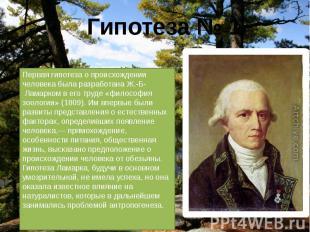Первая гипотеза о происхождении человека была разработана Ж.-Б- Ламарком в его