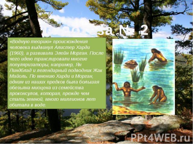 «Водную теорию» происхождения человека выдвинул Алистер Харди (1960), а развивала Элейн Морган. После чего идею транслировали многие популяризаторы, например, Ян Линдблад и легендарный подводник Жак Майоль. По мнению Харди и Морган, одним из наших п…